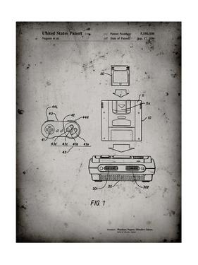 PP1072-Faded Grey Super Nintendo Console Remote and Cartridge Patent Poster by Cole Borders