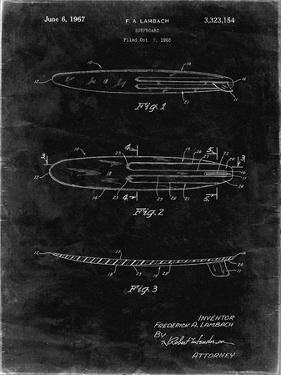 PP1073-Black Grunge Surfboard 1965 Patent Poster by Cole Borders