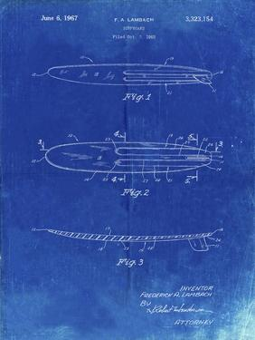 PP1073-Faded Blueprint Surfboard 1965 Patent Poster by Cole Borders