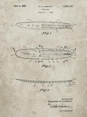 PP1073-Sandstone Surfboard 1965 Patent Poster by Cole Borders