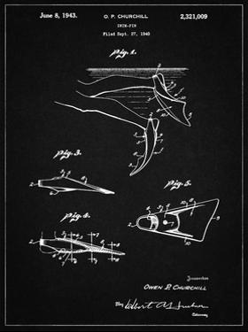 PP1079-Vintage Black Swim Fins Patent Poster by Cole Borders