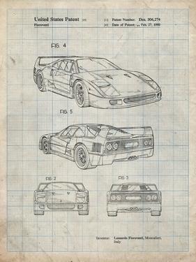 PP108-Antique Grid Parchment Ferrari 1990 F40 Patent Poster by Cole Borders