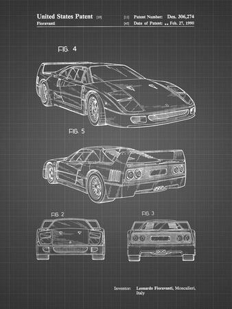 PP108-Black Grid Ferrari 1990 F40 Patent Poster