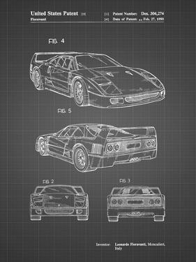 PP108-Black Grid Ferrari 1990 F40 Patent Poster by Cole Borders