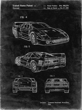 PP108-Black Grunge Ferrari 1990 F40 Patent Poster by Cole Borders