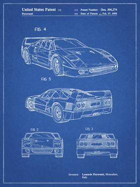 PP108-Blueprint Ferrari 1990 F40 Patent Poster by Cole Borders