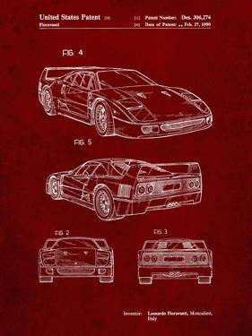 PP108-Burgundy Ferrari 1990 F40 Patent Poster by Cole Borders