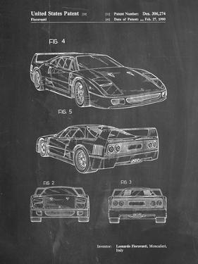 PP108-Chalkboard Ferrari 1990 F40 Patent Poster by Cole Borders