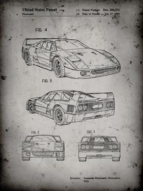 PP108-Faded Grey Ferrari 1990 F40 Patent Poster by Cole Borders