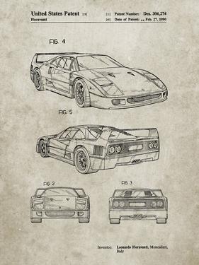 PP108-Sandstone Ferrari 1990 F40 Patent Poster by Cole Borders