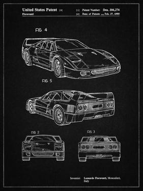 PP108-Vintage Black Ferrari 1990 F40 Patent Poster by Cole Borders