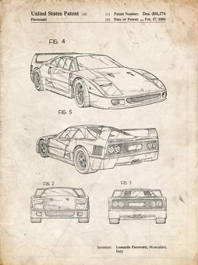 PP108-Vintage Parchment Ferrari 1990 F40 Patent Poster by Cole Borders
