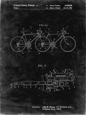 PP1084-Black Grunge Tandem Bicycle Patent Poster by Cole Borders