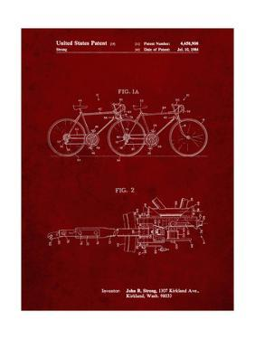 PP1084-Burgundy Tandem Bicycle Patent Poster by Cole Borders