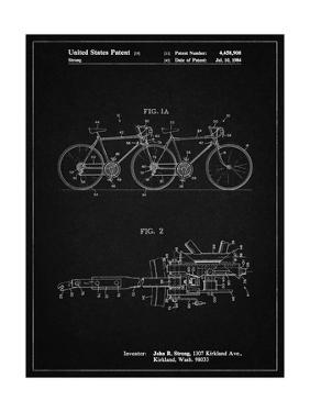 PP1084-Vintage Black Tandem Bicycle Patent Poster by Cole Borders