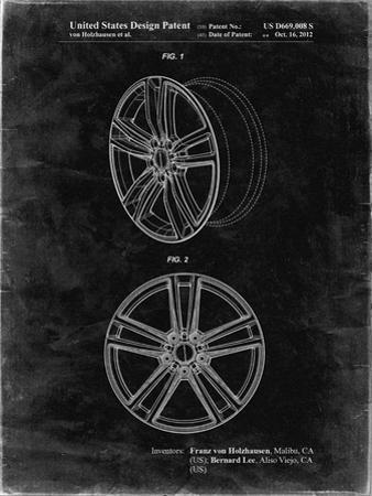 PP1091-Black Grunge Tesla Car Wheels Patent Poster by Cole Borders