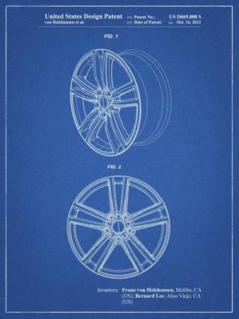 PP1091-Blueprint Tesla Car Wheels Patent Poster by Cole Borders