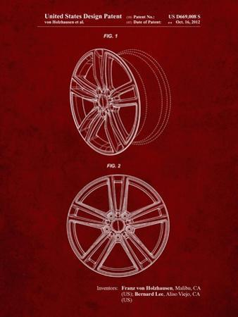 PP1091-Burgundy Tesla Car Wheels Patent Poster by Cole Borders