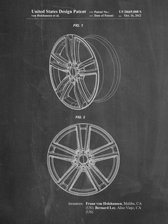 PP1091-Chalkboard Tesla Car Wheels Patent Poster by Cole Borders