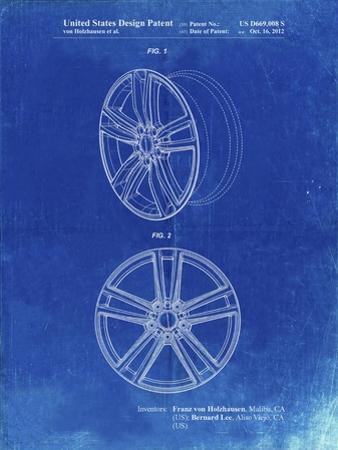 PP1091-Faded Blueprint Tesla Car Wheels Patent Poster by Cole Borders
