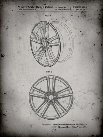 PP1091-Faded Grey Tesla Car Wheels Patent Poster by Cole Borders