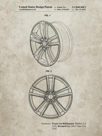 PP1091-Sandstone Tesla Car Wheels Patent Poster by Cole Borders