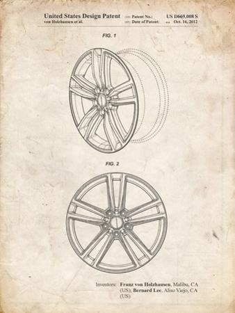 PP1091-Vintage Parchment Tesla Car Wheels Patent Poster by Cole Borders