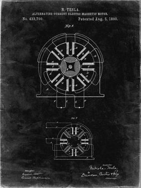 PP1092-Black Grunge Tesla Coil Patent Poster by Cole Borders