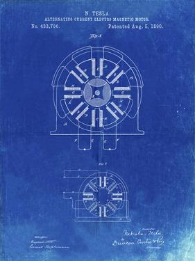 PP1092-Faded Blueprint Tesla Coil Patent Poster by Cole Borders
