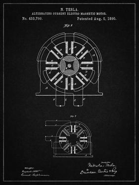 PP1092-Vintage Black Tesla Coil Patent Poster by Cole Borders