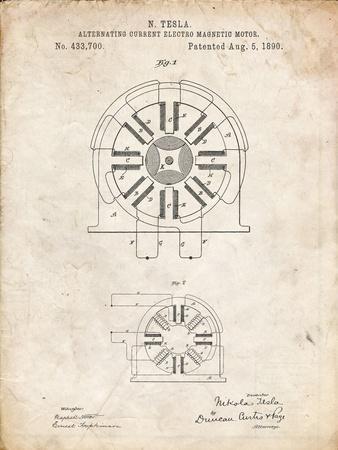 PP1092-Vintage Parchment Tesla Coil Patent Poster