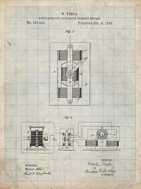 PP1095-Antique Grid Parchment Tesla Regulator for Alternate Current Motor Patent Poster by Cole Borders
