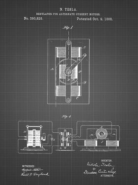 PP1095-Black Grid Tesla Regulator for Alternate Current Motor Patent Poster by Cole Borders