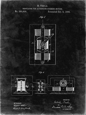 PP1095-Black Grunge Tesla Regulator for Alternate Current Motor Patent Poster by Cole Borders