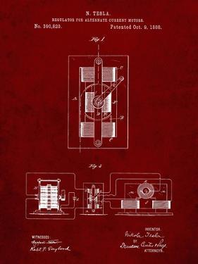 PP1095-Burgundy Tesla Regulator for Alternate Current Motor Patent Poster by Cole Borders