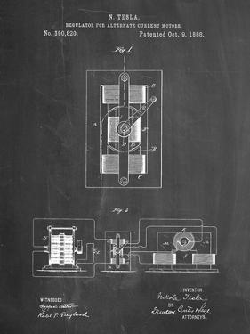 PP1095-Chalkboard Tesla Regulator for Alternate Current Motor Patent Poster by Cole Borders