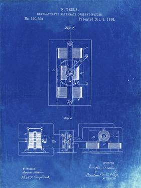 PP1095-Faded Blueprint Tesla Regulator for Alternate Current Motor Patent Poster by Cole Borders