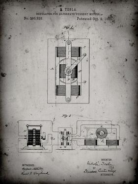 PP1095-Faded Grey Tesla Regulator for Alternate Current Motor Patent Poster by Cole Borders
