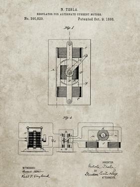 PP1095-Sandstone Tesla Regulator for Alternate Current Motor Patent Poster by Cole Borders