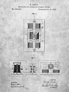 PP1095-Slate Tesla Regulator for Alternate Current Motor Patent Poster by Cole Borders