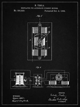 PP1095-Vintage Black Tesla Regulator for Alternate Current Motor Patent Poster by Cole Borders