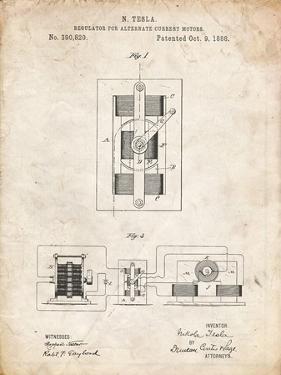 PP1095-Vintage Parchment Tesla Regulator for Alternate Current Motor Patent Poster by Cole Borders