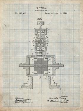 PP1096-Antique Grid Parchment Tesla Steam Engine Patent Poster by Cole Borders