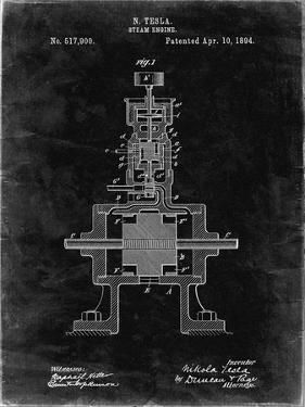 PP1096-Black Grunge Tesla Steam Engine Patent Poster by Cole Borders