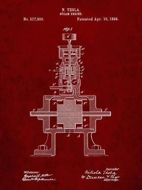 PP1096-Burgundy Tesla Steam Engine Patent Poster by Cole Borders