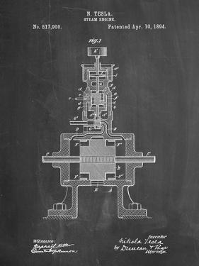 PP1096-Chalkboard Tesla Steam Engine Patent Poster by Cole Borders