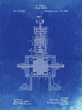 PP1096-Faded Blueprint Tesla Steam Engine Patent Poster by Cole Borders