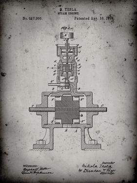 PP1096-Faded Grey Tesla Steam Engine Patent Poster by Cole Borders