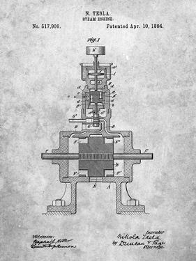 PP1096-Slate Tesla Steam Engine Patent Poster by Cole Borders