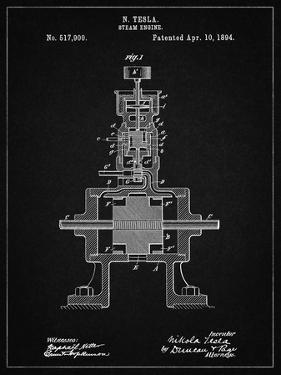 PP1096-Vintage Black Tesla Steam Engine Patent Poster by Cole Borders